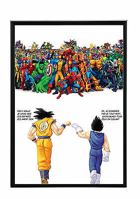 Cadre Photo A4 Noir/blanc.black/white Picture Frame.manga Dbz.goku & Vege Marvel