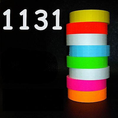 Monarch 1131 style labels 8 rolls white-red-green-yellow-orange-blue-pink