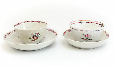Pair of Assorted Chinese Export Porcelain Cup & Saucers 19th Century Floral