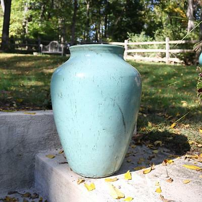 Antique Glazed Garden Urn, Green Glaze Outdoor, Large Size