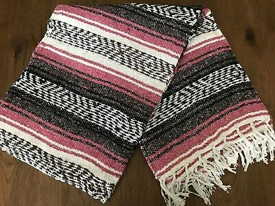 Mexican Falsa Throw Blanket * Yoga * - NEW Made in Mexico - Baby Blue - Serape
