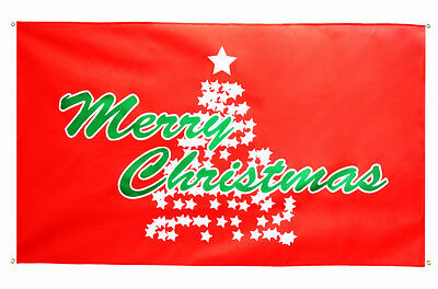 Christmas Tree Red Flag 5 x 3 FT - 100% Polyester With Eyelets Banner Santa