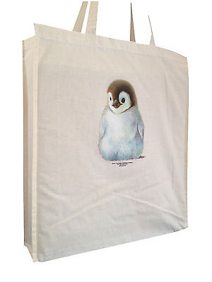 Penguin Chick Cotton Shopping Bag Tote with Gusset & Long Handles Perfect Gift