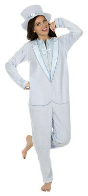 Adult Comedy Dumb and Dumber Light Blue Tuxedo One Piece Pajama with Top Hat