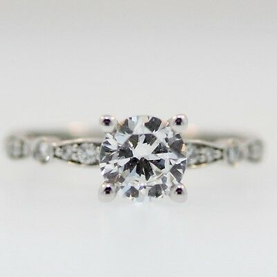 New 18KW Tacori Sculpted Crescent 47-2 RD 6.5 W Engagement Ring Size 6.5