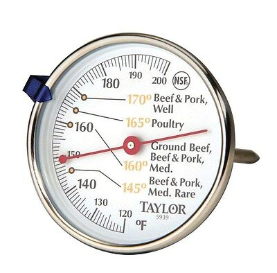 """Taylor Meat Thermometer Meat 120 To 200 Deg F 2-3/4"""" Dia. Dial"""