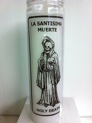 Holy Death 7 Day White Unscented Candle In Glass ( Santa Muerte )