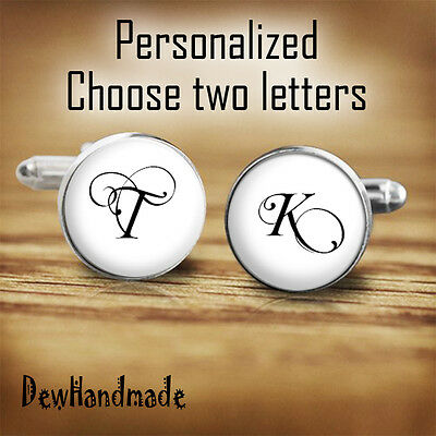 Personalized cufflinks Initial letter ideal for wedding FREE gift box