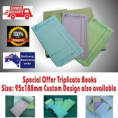 100  TRIPLICATE Large Restaurant Docket Books Carbonless Express Delivery