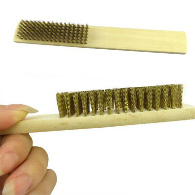 2X Wooden Handle Cleaning Brush Solid Copper Brass Head Wire Brush Washing Tool