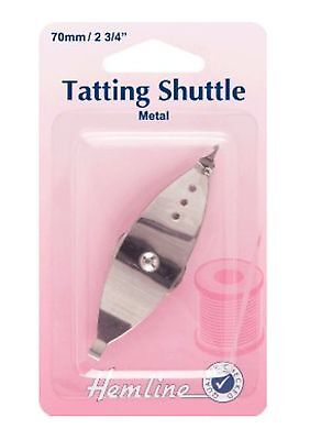 TATTING SHUTTLE BY HEMLINE NEEDLE CRAFT 70 mm WIDE METAL