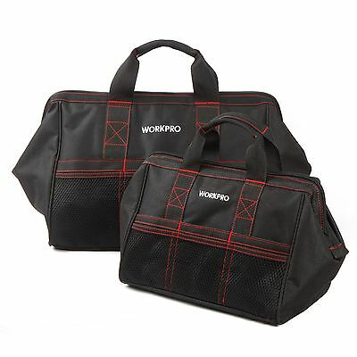 """WORKPRO 2PC 13""""18"""" Storage Tool Bag Zip-Top Open Mouth Multifuntional Heavy Duty"""