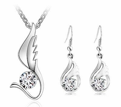 White Bridal Jewellery Set Wings Diamond Stud Earrings Pendant Necklace S515