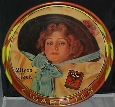 Satin Cigarette Tray Advertising Sign Metal For Satin Cigarettes Vintage