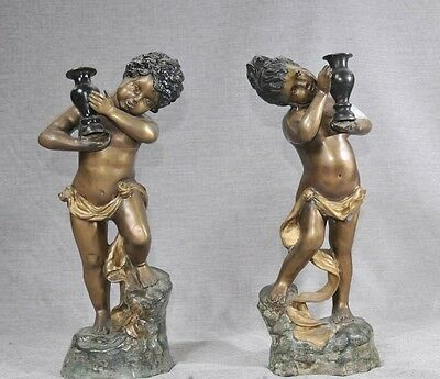 Pair French Bronze Cherub Statues Cherubim Putti