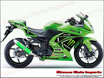 2013-2016 Kawasaki Ninja 300 R Slip On Racing Exhaust Aluminium EX300 - Green