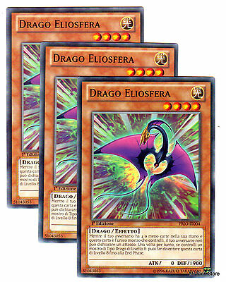 Set 3X DRAGO ELIOSFERA Heliosphere Dragon PRIO-IT004 Comune in Italiano YUGIOH
