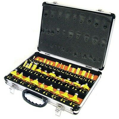 """35Pc 1/4"""" Shank Tct Router Bit Set & Carry Case - Tungsten Carbide Tipped"""