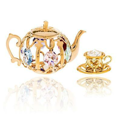 24K Gold Plated Crystal Studded Tea Set Ornaments by Matashi®