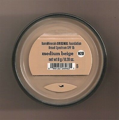 BARE MINERALS ESCENTUALS SPF 15 Foundation - MEDIUM BEIGE N20 8G-XL - FREE SHIP
