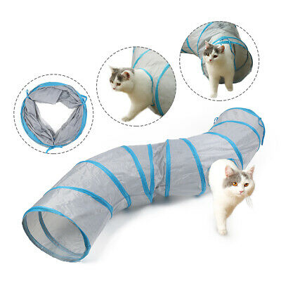 130CM Pet Cat Tunnel 2 Holes With Ball Rabbit KittenFoldable Pop Out Play Toy