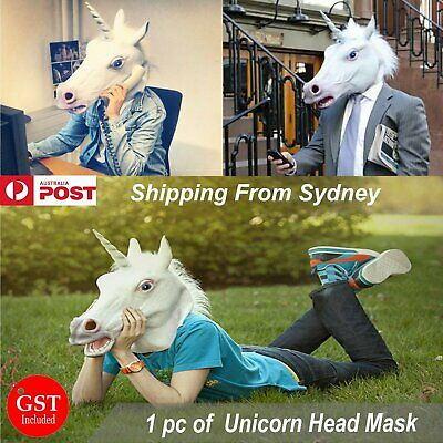 Unicorn Head Mask Latex Prop Animal Cosplay Costume Rubber Party Halloween