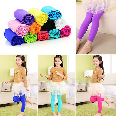 Girls Kids Children Winter Warm Velvet Leggings Solid Candy Color Pants Trousers