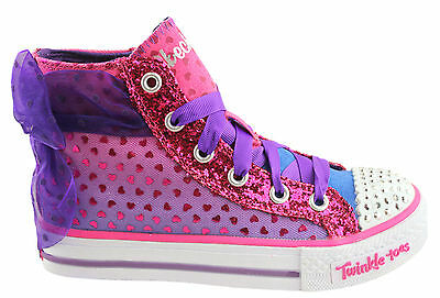 Skechers Twinkle Toes Girls/kids S Lights Shuffles Pixie Bunch Lace Up Shoes