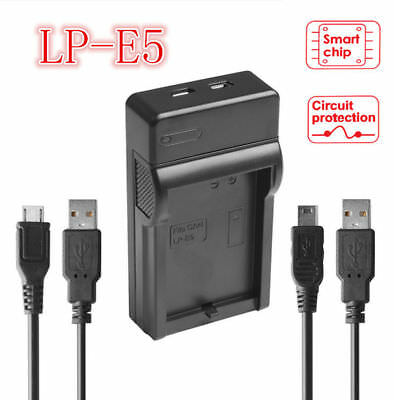 USB Port Travel Battery Charger For Canon LP-E5 EOS 450D 500D 1000D Rebel Xsi