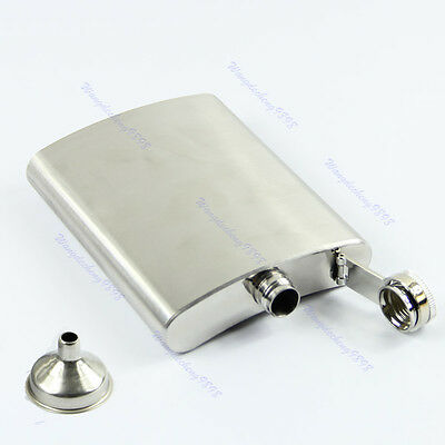8oz Stainless Steel Hip Whiskey Liquor Alcohol Party Drink Pocket Flask + Funnel