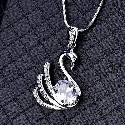18k Silver Gold Filled Swarovski Crystal Pendant Necklaces Stylish Swan Jewelry