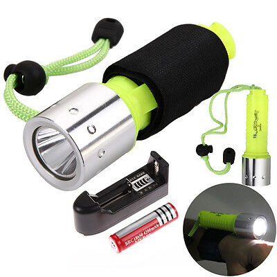 Underwater 1800lm XM-L T6 LED 18650 Diving Flashlight Torch Lamp 50m +Wrist Band