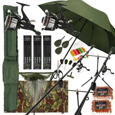 "Deluxe Complete Carp Fishing Set With 2 x Rods Reels Pod Alarms 42"" Net Tackle"