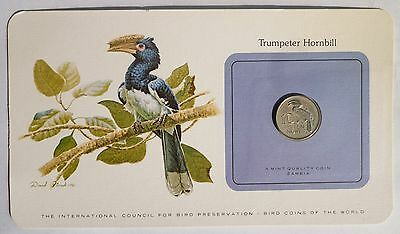Bird coins of the World Zambia 10 Ngwee 1978 * UNC * Trumpeter Hornbill in card