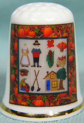 Thanksgiving Quilt style  Thimble  on bone china
