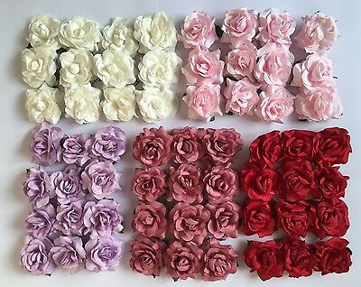 12 Large Paper Roses/flowers With Wire Stems-Wedding/craft Rose/5 Colours-4Cm