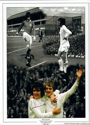 Signed Peter Lorimer Leeds United Autograph Photo Montage 1972 FA Cup Winner