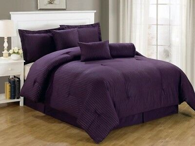 Chezmoi Collection 7-pc Hotel Solid Dobby Stripe Comforter Set Cal King, Purple