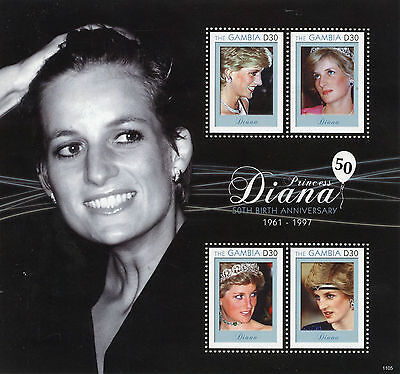 Gambia 2011 MNH Princess Diana 1961-1997 50th Birth Anniv 4v M/S II Royalty