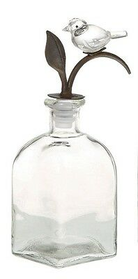 """Crystal Bird Stopper and Glass Bottle 8""""H NWT Creative Co-op Turn of the Century"""