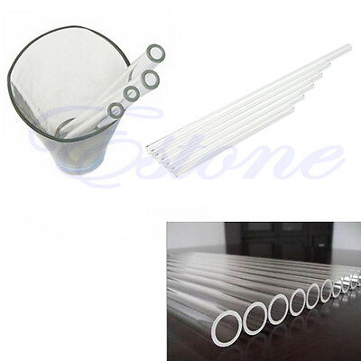 10mm Reusable Wedding Birthday Party Clear Glass Drinking Straws Thick Straws