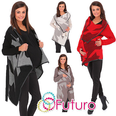 Womens Maternity Thick Heavy Cardigan Warm Knitted Coat Parka Size 8-14 FR15