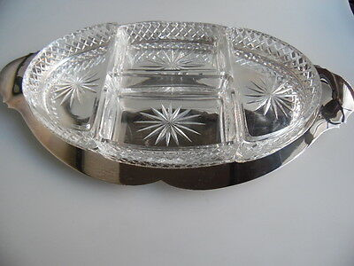 Versilberter Tablet mit Glaseinsätzen     silver plate tray with glassinserts