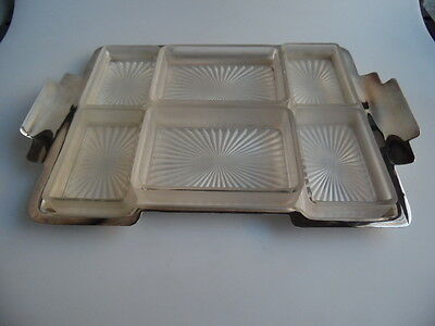 Versilberter Tablett mit Glaseinsätzen     silver plate tray with glassinserts