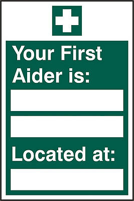 First Aider Located Self Adhesive Vinyl Safety Sign x5