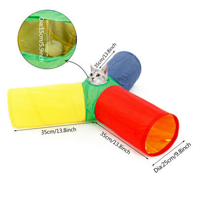 Pet Cat Tunnel PlayToys 3 Way 1 Holes Rabbit Kitten Foldable Tunnels Multicolor