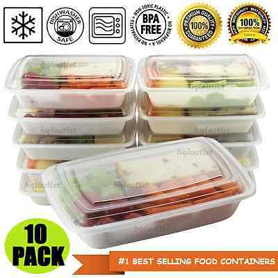 10 Meal Prep Containers w/ Lids Reusable Microwaveable Plastic Food Portion 28oz