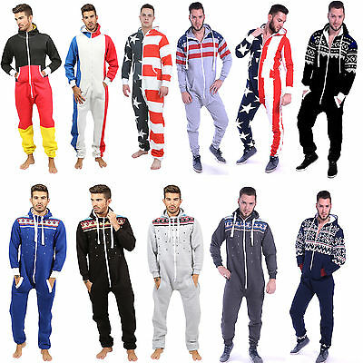 Mens Jumpsuit All In One Piece Aztec Country Flag Printed Zip Up Comfortable