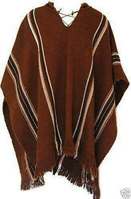 FairTrade Alpaca Wool Mens Peruvian Hooded Poncho Shawl Festival Coat 352 brown