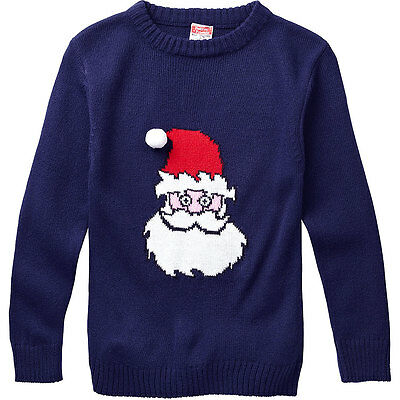 Baby Toddler Boys Santa Father Christmas Character Novelty Knitted Jumper Navy